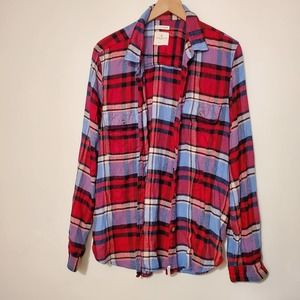 American Eagle Ahhhmazingly Soft Red Blue Flannel